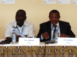 Peter Kumche, (left) director of Trauma Centre Cameroon, joins TCC's President Peter Essoka during the welcoming to the seminar.