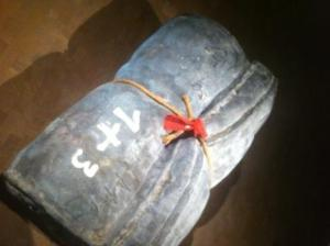 Piece by Catalan artist Antoni Tapies. This reminded the author of the many clients who are forced to flee their homes with only a few items, such as a rolled up mattress as pictured. (Photo submitted by Freedom From Torture)