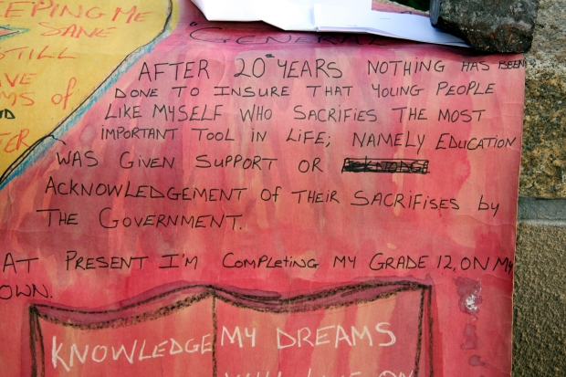 A hand-made poster submitted by a child supporter of Trauma Centre in Cape Town for the 2010 Day in Support of Victims of Torture.
