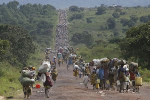 Thousands of displaced people walking out of eastern Congo (courtesy of AP Photo/Jerome Delay and kingdomnewtestament.wordpress.com)