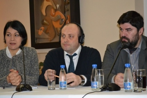 "(left to right) Natasa Cvetkovic Jovic of IAN, IRCT Regonal Coordinator for Europe Mushegh Yekmalyan, Dragan Jugovic of ""Dusha"""