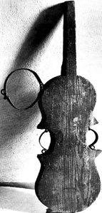 A 'shame violin', a Medieval method of torture whereby the victim was permanently attached to the relevant instrument