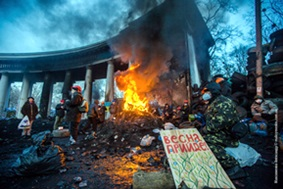 Scene from the protests in Kiev