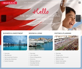 The homepage image of happiness from Bahrain.com, managed by the Bahrain Economic Development Board
