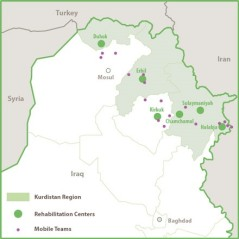 The map showing locations of the many branches of the Kirkuk Center for Torture Victims