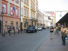 Protestors march through the streets of Krakow