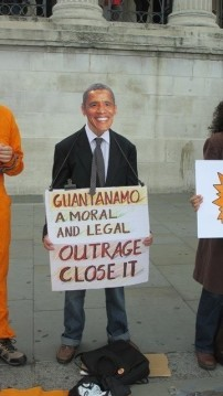 A protestor dressed as US President Barack Obama