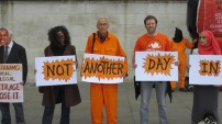 Protestors in Trafalgar Square as part of the London Guantanamo Campaign's 26 June protest against the camp