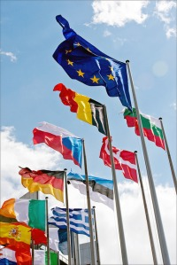 A selection of flags outside of the European Parliament building (picture courtesy of the European Parliament)