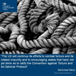 The UK Foreign and Commonwealth Office (FCO) were extremely helpful on social media on 26 June, helping spread the word that torture will not be accepted.