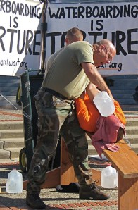 A waterboarding demonstration by US Navy veteran Joe Tougas. Waterboarding was one of the torture methods doctors helped develop with the CIA (picture used under Flickr creative commons licence courtesy of  Isabel Esterman)