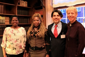 Jade and Yamikani standing alongside IRCT Secretary-General Victor Madrigal-Borloz and Write to Life's Sheila Hayman